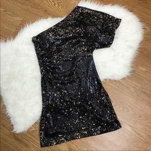 Sean Collection Sequin One Shoulder Evening Dress
